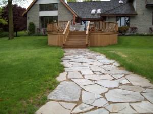Limestone flagstone walkway